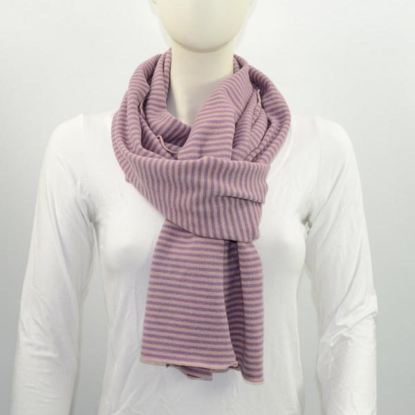 Schal Merino rose flieder gestreift