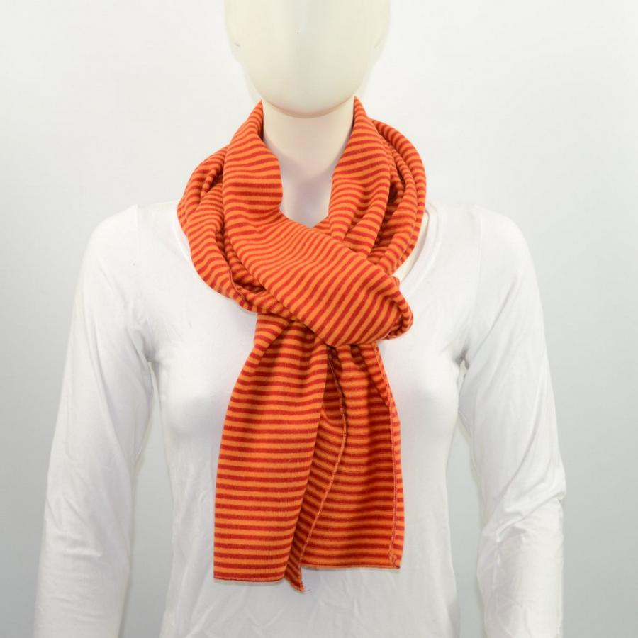 Schal Merino orange gestreift